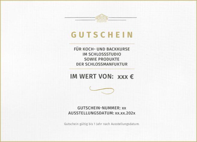 Wertgutschein fuer Produkte der SchlossManufaktur und Kochkurse im SchlossStudio