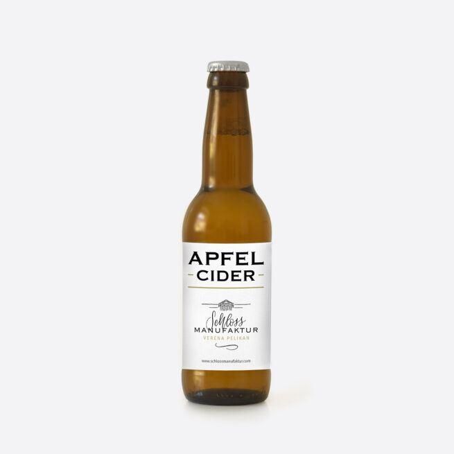 Fruchtig frischer SchlossManufaktur Apfel Cider erhaeltlich in der 330ml Glasflasche