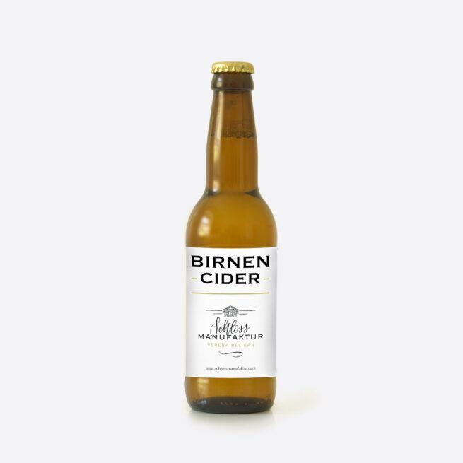 Fruchtig frischer SchlossManufaktur Birnen Cider erhaeltlich in der 330ml Glasflasche