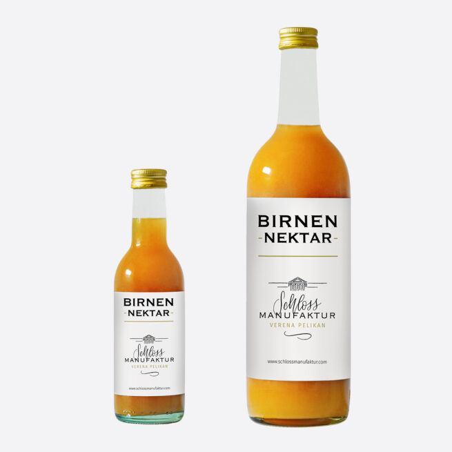 SchlossManufaktur Birnennektar erhaeltlich in der 250ml und 750ml Glasflasche