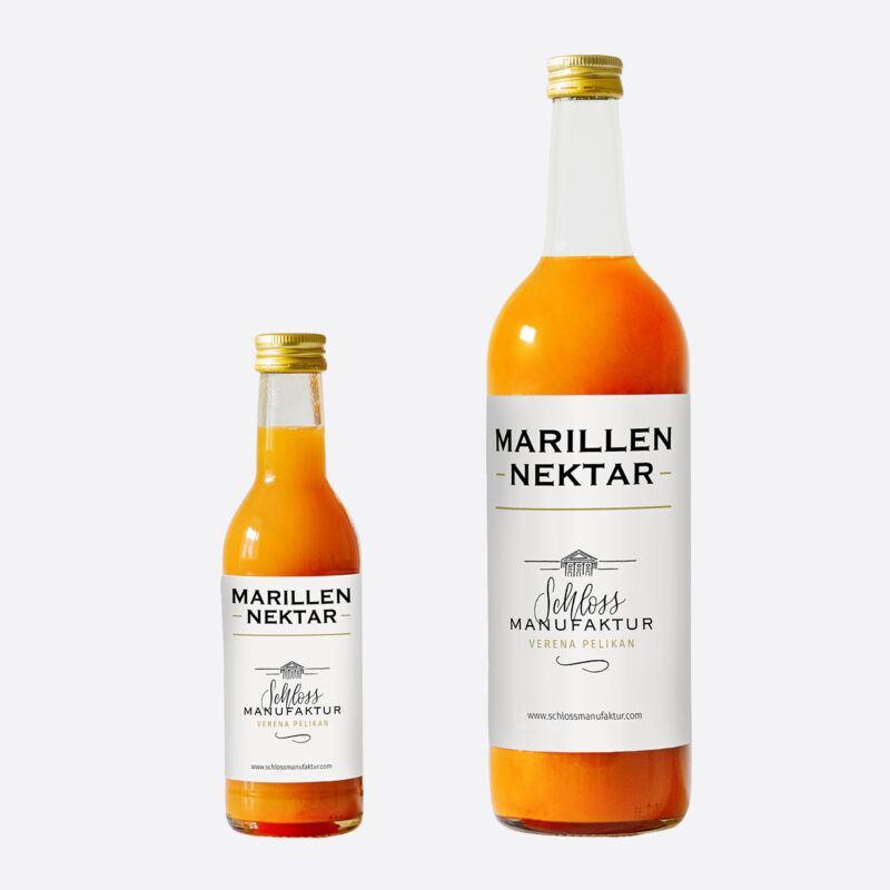 SchlossManufaktur Marillennektar erhaeltlich in der 250ml und 750ml Glasflasche