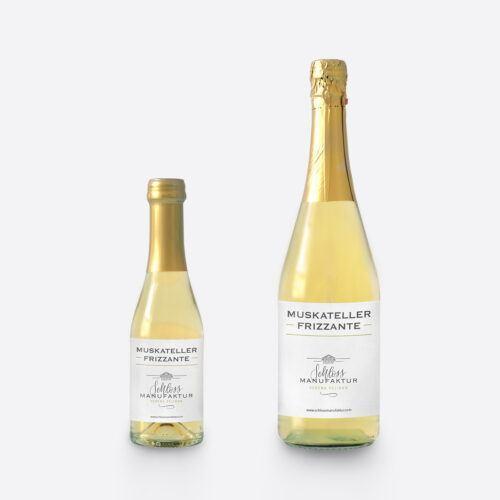 SchlossManufaktur Muskateller Frizzante erhaeltlich in der 250ml und 750ml Glasflasche