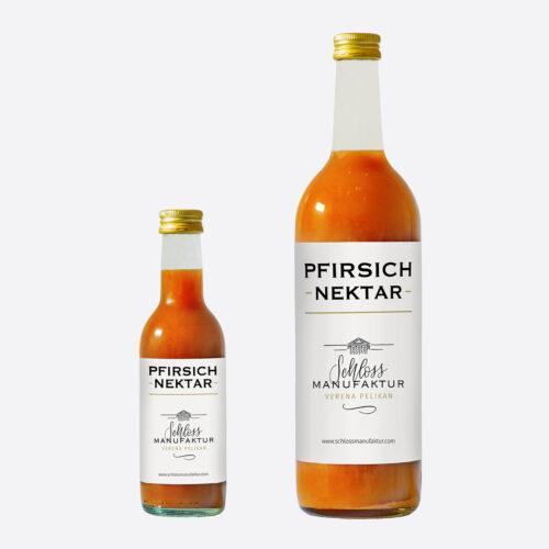 SchlossManufaktur Pfirsichnektar erhaeltlich in der 250ml und 750ml Glasflasche