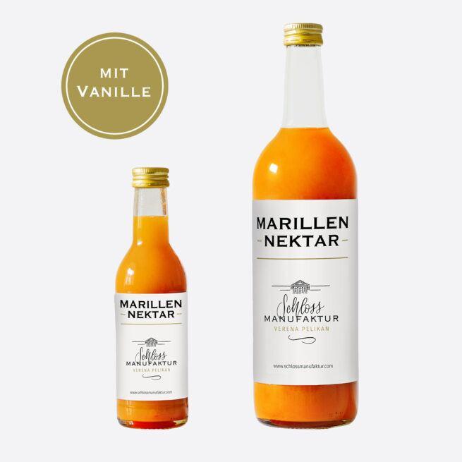 SchlossManufaktur Marillennektar mit Vanille erhaeltlich in der 250ml und 750ml Glasflasche